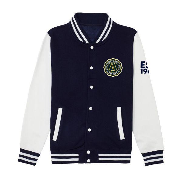 Unisex College Jacket, navy / white, EST.