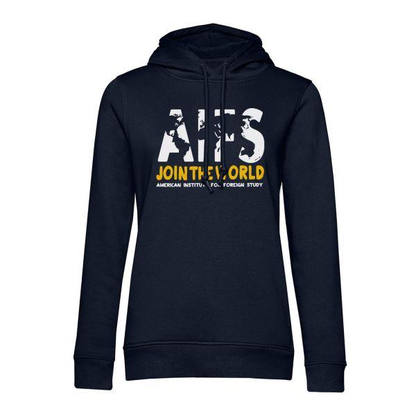Girls Organic Hooded Sweatshirt, navy, WORLD